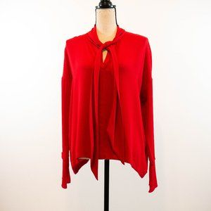 Theory Silk Tie Neck Blouse Size XS